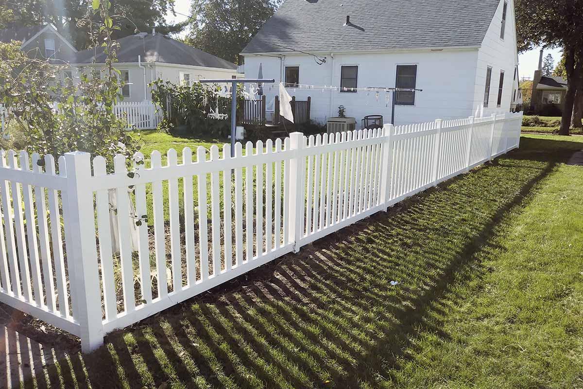 4 White Vinyl Dog Eared Picket Fence