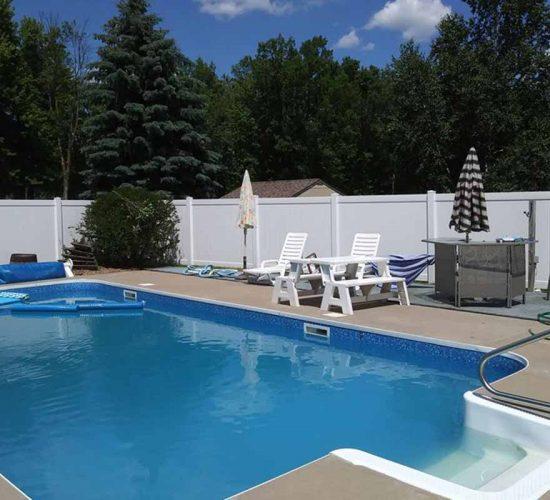 6 White Vinyl Privacy Fence Pool Installation