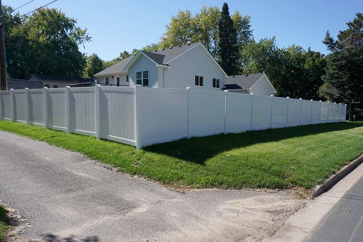72 White Vinyl Privacy Fence Minnesota